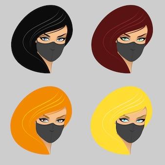 Vrouwen in medisch masker.