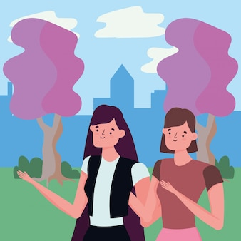 Vrouwen in park vectorontwerp
