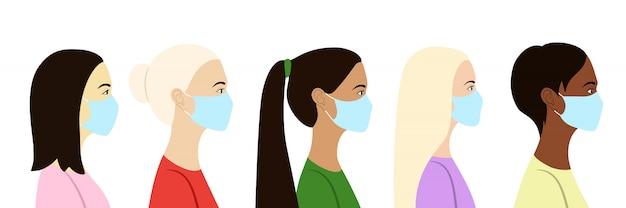 Vrouwen in profiel in medische maskers