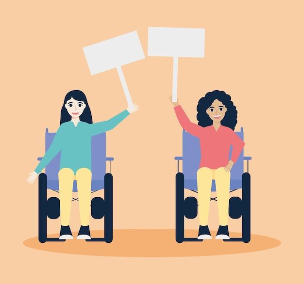 Vrouwen in rolstoelen met plakkaten