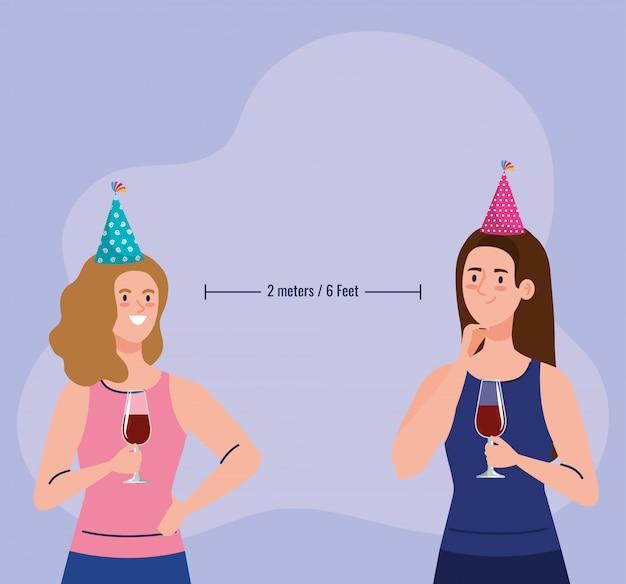 Vrouwen in sociale partij, twee meter of zes voet sociale afstand, preventie van coronavirus covid 19