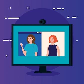 Vrouwen in videoconferentie in computer