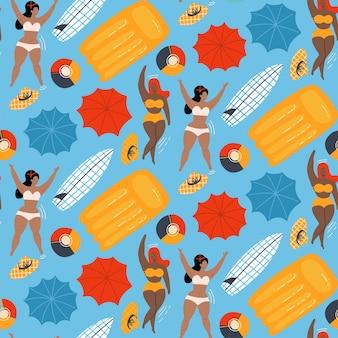 Vrouwen in zwembad zwemmen met opblaasbare bal en matrassen naadloos patroon plat