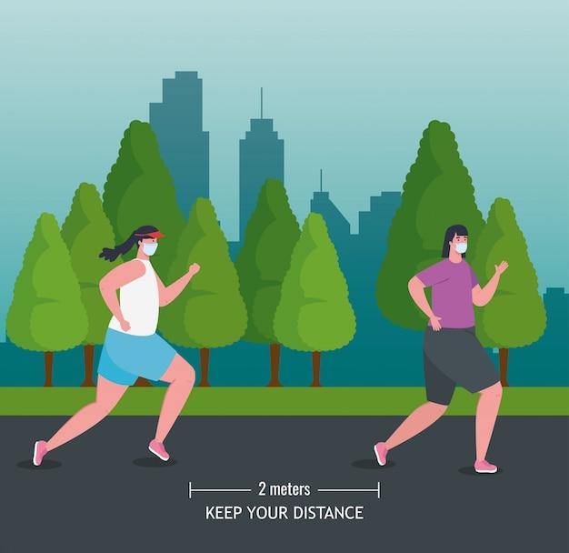 Vrouwen joggen en afstand houden op coronavirus covid 19