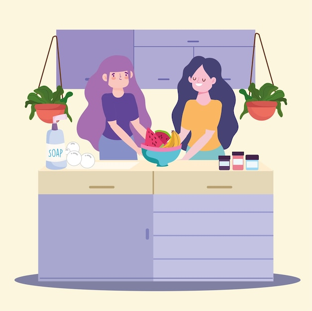 Vrouwen keuken eten