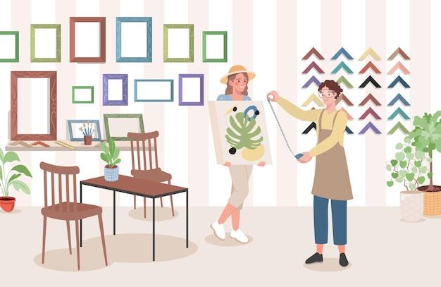 Vrouwen kiezen frame voor schilderij getekend op canvas in kunstwinkel