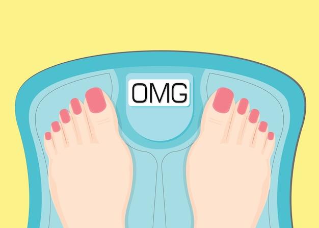 Vrouwen kijken naar uw gewicht in een weegschaal.
