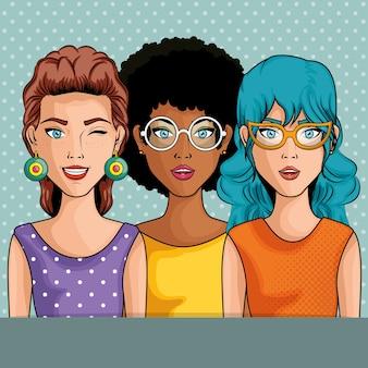 Vrouwen komisch zoals pop-artpictogram over blauwe gestippelde vectorillustratie als achtergrond
