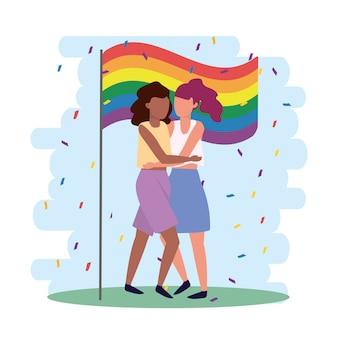 Vrouwen koppelen samen in de lgbt-parade