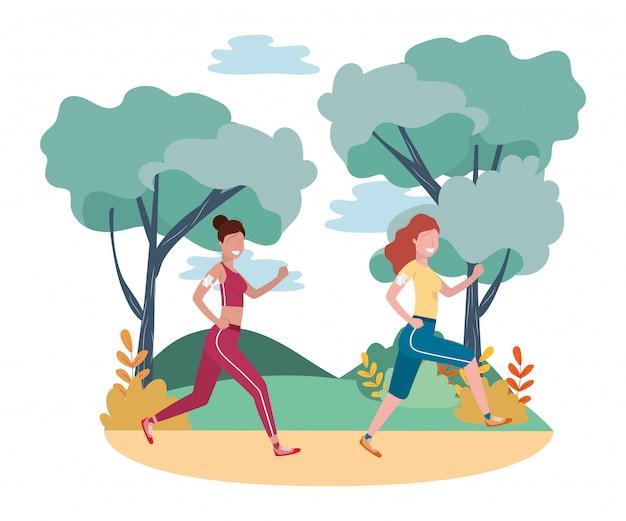 Vrouwen lopen met sportkleding