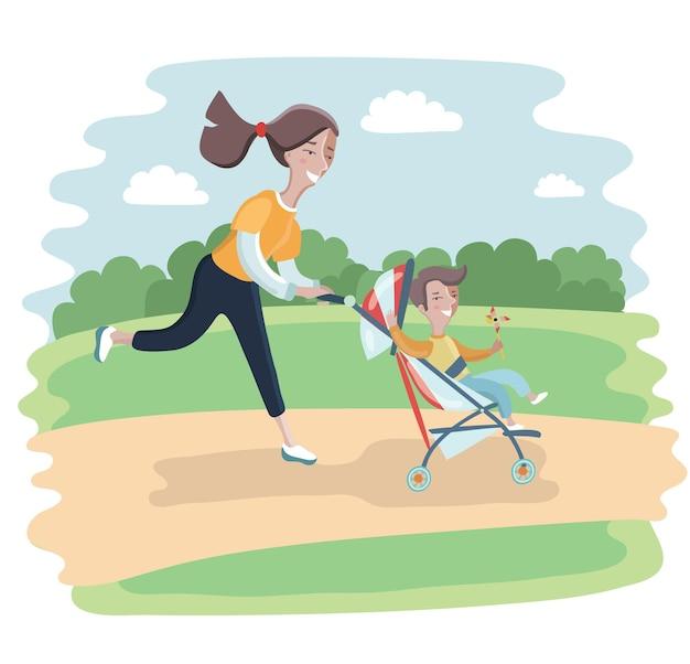 Vrouwen lopen met zoon in kinderwagens.