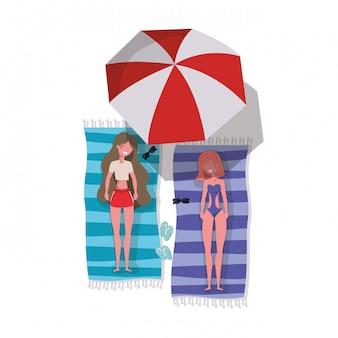 Vrouwen met badpak zonnebaden karakter