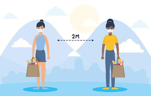 Vrouwen met boodschappen boodschappentas en sociale afstand voor covid19