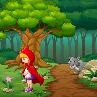 Vrouwen met een kap rood en een wolf