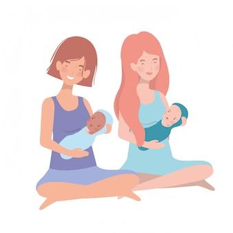 Vrouwen met een pasgeboren baby in haar armen