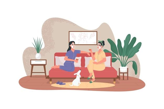 Vrouwen met gezichtsmasker en wijnglazen platte karakters op cartoon achtergrond