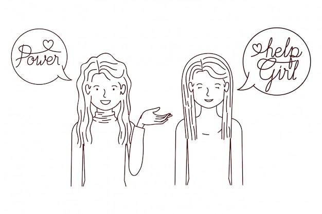 Vrouwen met het label international women's day karakter
