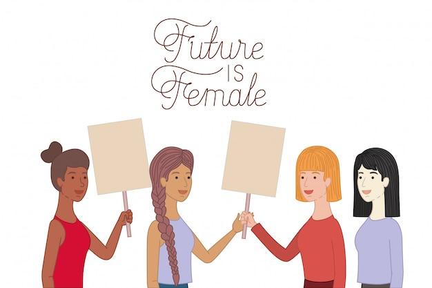 Vrouwen met label future is vrouwelijk karakter