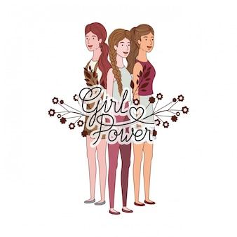 Vrouwen met label girl power avatar karakter