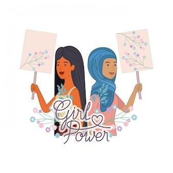 Vrouwen met label girl power character