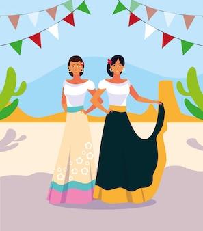 Vrouwen met mexicaans typisch kostuum