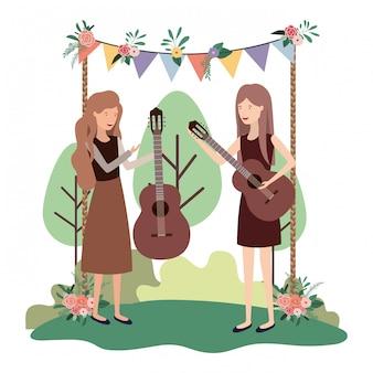 Vrouwen met muziekinstrumenten in landschap
