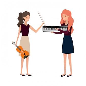 Vrouwen met muziekinstrumenten karakter