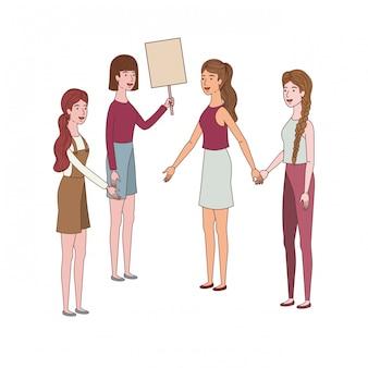 Vrouwen met tag van houten avatar karakter