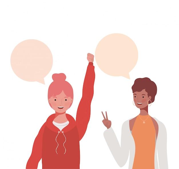 Vrouwen met toespraak bubble avatar karakter