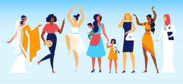 Vrouwen met verschillende beroepen en sociale status