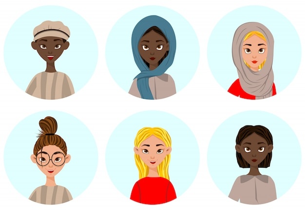 Vrouwen met verschillende gezichtsuitdrukkingen en emoties. cartoon stijl. vector illustratie.