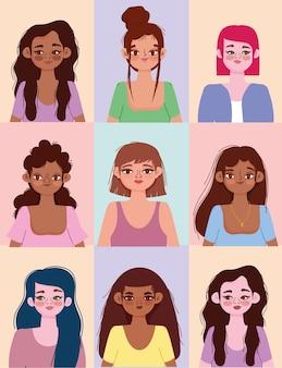 Vrouwen met verschillende nationaliteiten en culturen, diverse avatars