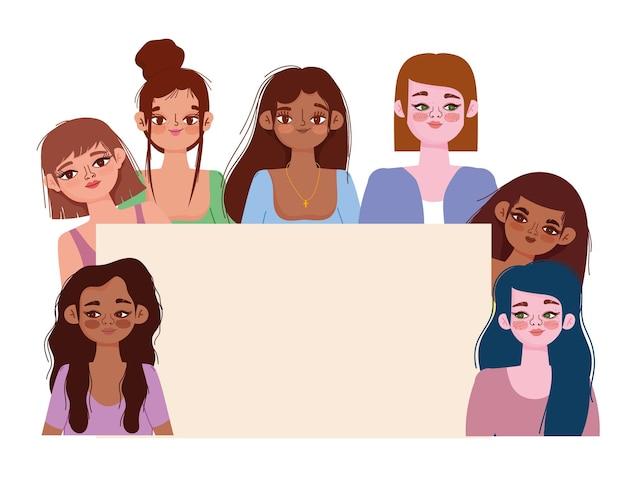 Vrouwen met verschillende nationaliteiten en culturen met spandoek, diverse avatars