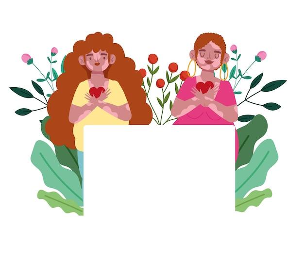 Vrouwen met vitiligo harten bloemen cartoon karakter zelfliefde illustratie