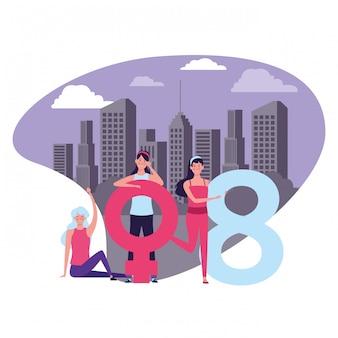 Vrouwen met vrouwelijk symbool en acht
