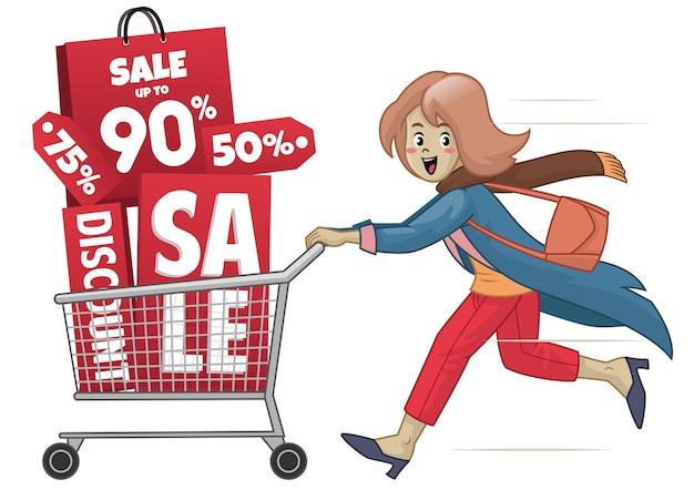 Vrouwen met winkelwagen en verkooppromotie winkelen