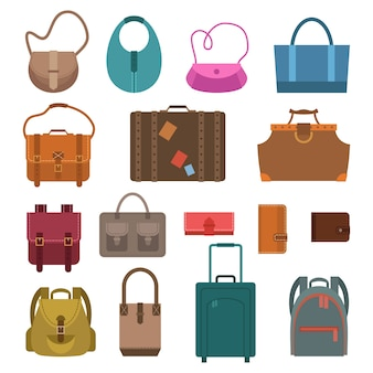 Vrouwen mode en bagage tassen gekleurde pictogrammen instellen geïsoleerde vector illustratie.