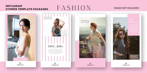 Vrouwen mode-instagram verhalen sjabloonpakketten