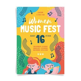 Vrouwen muziek fest posterontwerp
