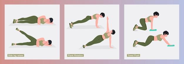 Vrouwen oefeningen set vrouwen doen fitnessoefeningen