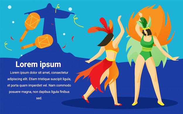 Vrouwen op braziliaans carnaval. advertentiebeeld.