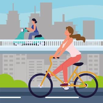 Vrouwen op fiets- en motorvervoer