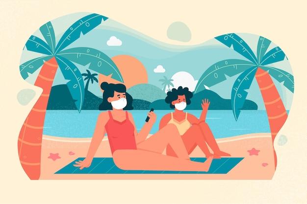 Vrouwen op het strand die medische maskers dragen