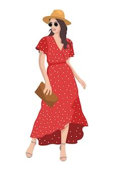 Vrouwen op hoge hakken gekleed in stijlvolle trendy kleding vrouwelijke mode-illustratie