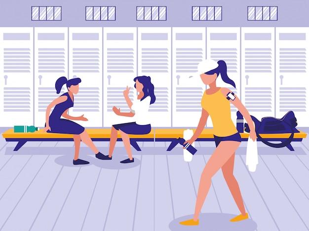 Vrouwen op hun plaats met kast van sportgymnastiek