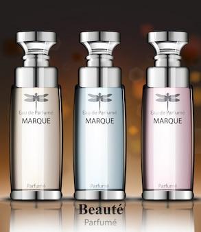Vrouwen parfumflesjes collectie geur. realistische vectorproductverpakkingsontwerpen