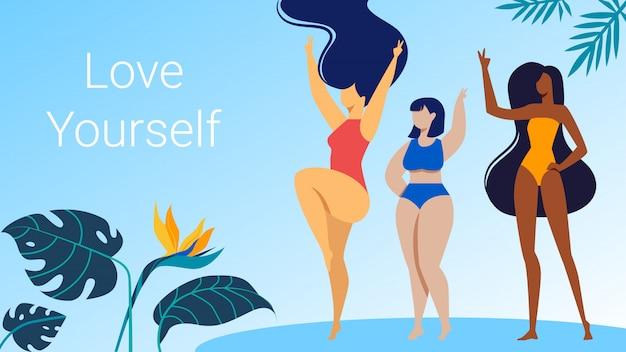 Vrouwen personages in bikini dansen met handen omhoog