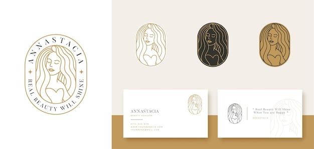 Vrouwen potrait lineaire stijl logo-ontwerp