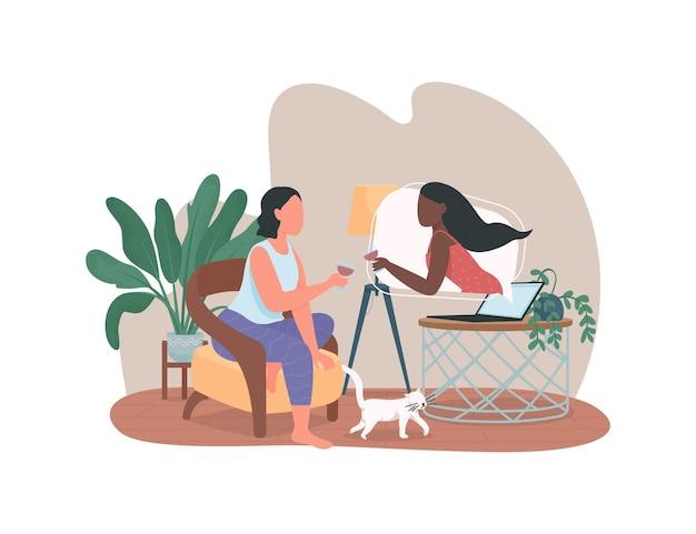 Vrouwen praten in videogesprek platte karakters op cartoon achtergrond