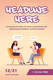 Vrouwen praten over kopje koffie folder sjabloon